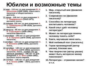 Юбилеи и возможные темы 24 мая - 110 лет со дня рождения М. А. Шолохова (1905-19