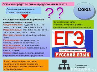 Союзкак средство связи предложений в тексте Смысловые отношения, выражаемые соч