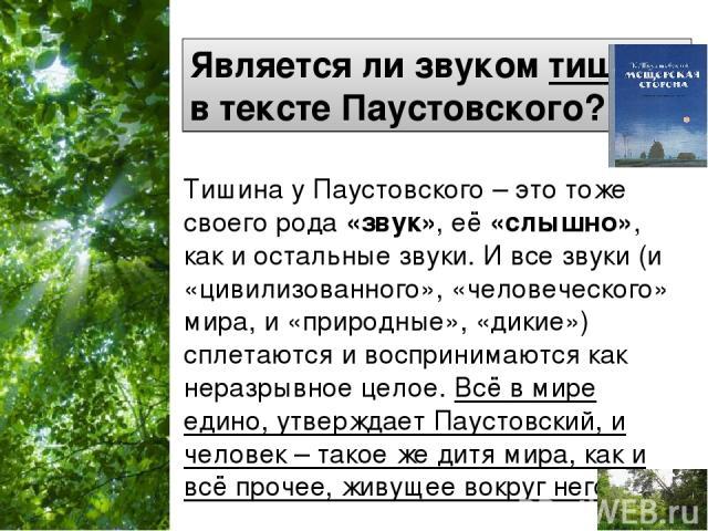 Является ли звуком тишина в тексте Паустовского? Тишина у Паустовского – это тоже своего рода «звук», её «слышно», как и остальные звуки. И все звуки (и «цивилизованного», «человеческого» мира, и «природные», «дикие») сплетаются и воспринимаются как…