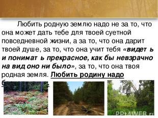Любить родную землю надо не за то, что она может дать тебе для твоей суетной пов