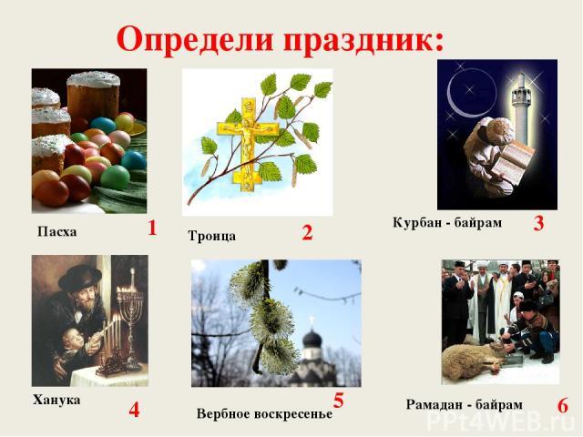 Определи праздник: 1 2 5 6 4 3 Пасха Троица Курбан - байрам Рамадан - байрам Вербное воскресенье Ханука