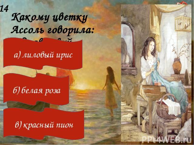 Какому цветку Ассоль говорила: «Здравствуй, больной»? 14 а) лиловый ирис б) белая роза в) красный пион