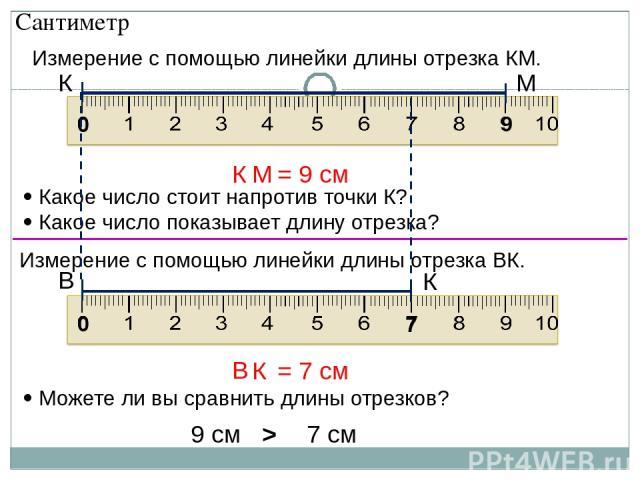 Измерение с помощью линейки длины отрезка КМ. Какое число стоит напротив точки К? Какое число показывает длину отрезка? 0 9 М К Измерение с помощью линейки длины отрезка ВК. 0 7 К В Можете ли вы сравнить длины отрезков? 7 см 9 см > Сантиметр К М = 9…