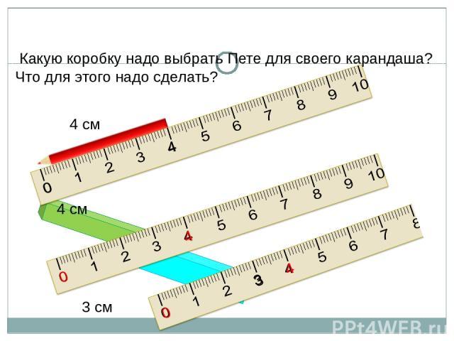 Какую коробку надо выбрать Пете для своего карандаша? Что для этого надо сделать? 4 см 0 4 4 см 3 3 см 0 4 0 4