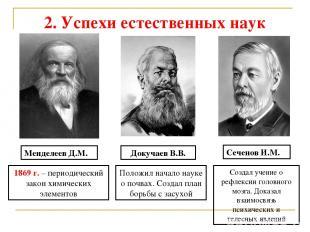 2. Успехи естественных наук Менделеев Д.М. 1869 г. – периодический закон химичес