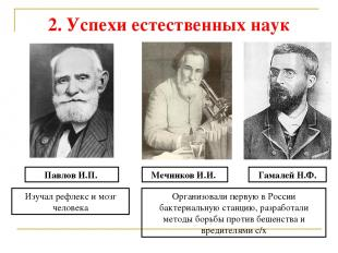2. Успехи естественных наук Павлов И.П. Изучал рефлекс и мозг человека Мечников