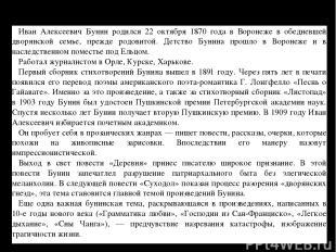 Иван Алексеевич Бунин родился 22 октября 1870 года в Воронеже в обедневшей дворя