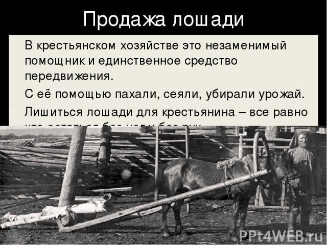 Продажа лошади В крестьянском хозяйстве это незаменимый помощник и единственное средство передвижения. С её помощью пахали, сеяли, убирали урожай. Лишиться лошади для крестьянина – все равно что остаться без ног и без рук.