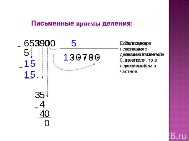 Письменные приемы деления: 5 653900 1 ● ● ● ● ● 5 1 3 5 5 1 3 Если цифра неполного делимого меньше делителя, то в частном 0. 0 9 3 5 4 0 7 8 0 4 0 0 Если новым неполным делимым является 0, то его переписываем в частное.
