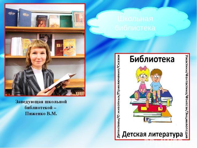 Школьная библиотека Заведующая школьной библиотекой – Пиженко В.М.
