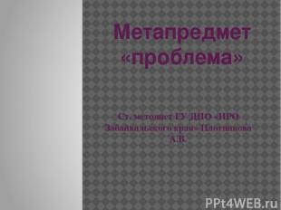 Метапредмет «проблема» Ст. методист ГУ ДПО «ИРО Забайкальского края» Плотникова