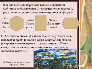 В.В. Маяковский переносит в поэзию принципы кубистической живописи с пересечение