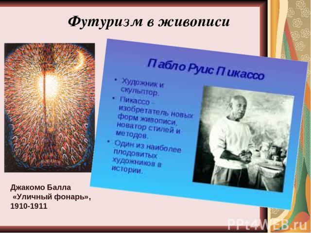 Джакомо Балла «Уличный фонарь», 1910-1911 Футуризм в живописи