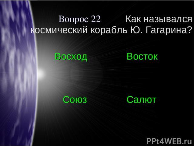 Вопрос 22 Как назывался космический корабль Ю. Гагарина? Восход Восток Союз Салют