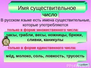 Имя существительное ЧИСЛО В русском языке есть имена существительные, которые уп