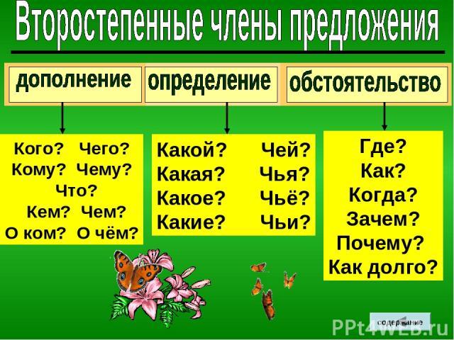 Где? Как? Когда? Зачем? Почему? Как долго? Какой? Чей? Какая? Чья? Какое? Чьё? Какие? Чьи? Кого? Чего? Кому? Чему? Что? Кем? Чем? О ком? О чём? содержание