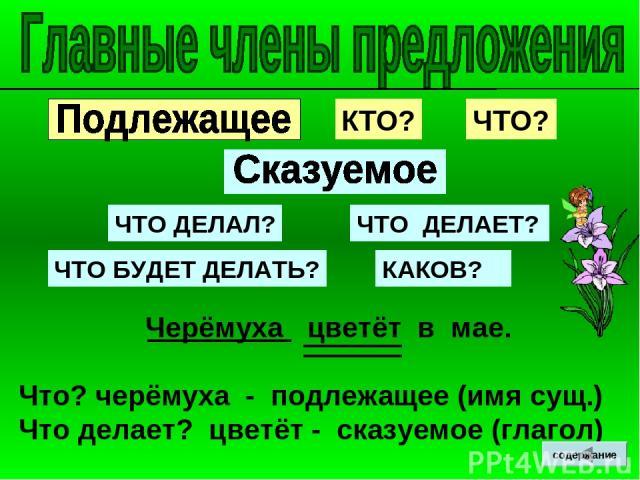 Черёмуха цветёт в мае. Что? черёмуха - подлежащее (имя сущ.) Что делает? цветёт - сказуемое (глагол) КТО? ЧТО? ЧТО ДЕЛАЛ? ЧТО ДЕЛАЕТ? ЧТО БУДЕТ ДЕЛАТЬ? КАКОВ? содержание
