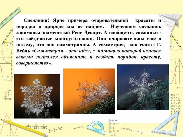 Снежинки! Ярче примера очаровательной красоты и порядка в природе мы не найдём. Изучением снежинок занимался знаменитый Рене Декарт. А вообще-то, снежинки - это звёздчатые многоугольники. Они очаровательны ещё и потому, что они симметричны. А симмет…
