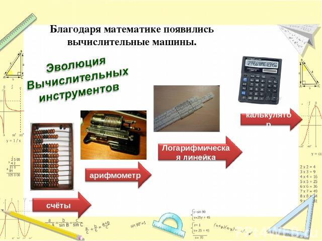 Благодаря математике появились вычислительные машины.