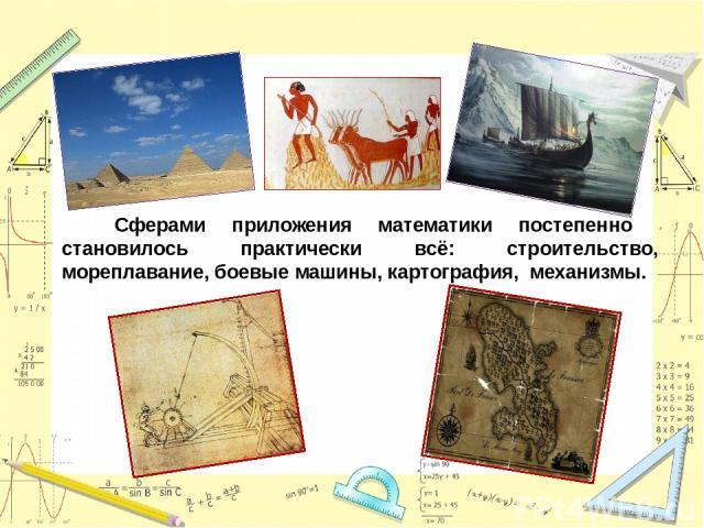 Сферами приложения математики постепенно становилось практически всё: строительство, мореплавание, боевые машины, картография, механизмы.