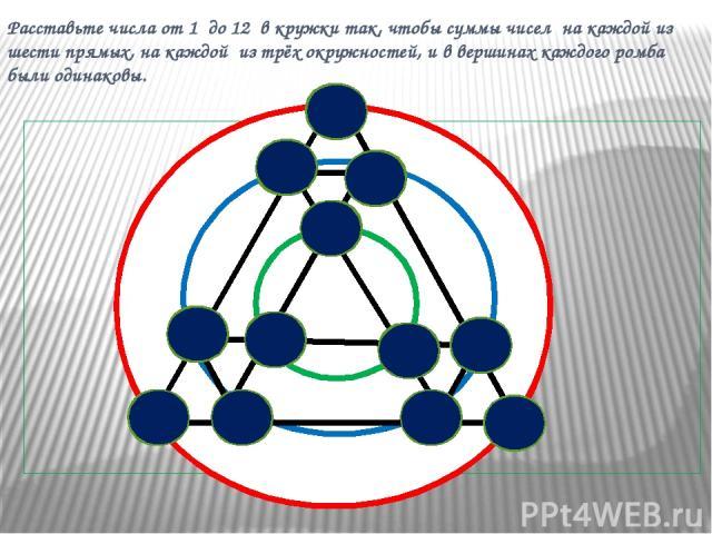 Расставьте числа от 1 до 12 в кружки так, чтобы суммы чисел на каждой из шести прямых, на каждой из трёх окружностей, и в вершинах каждого ромба были одинаковы. 10 3 11 9 4 8 12 2 7 5 1 6