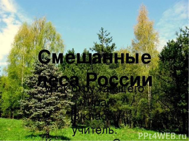Смешанные леса России урок окружающего мира 3 класс учитель: Коновалова Ольга Александровна