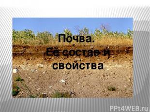 Почва. Её состав и свойства