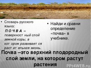 Словарь русского языка: П О Ч В А – поверхностный слой земной коры, в котором ра