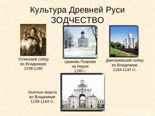 Культура Древней Руси ЗОДЧЕСТВО Успенский собор во Владимире 1158-1160 Церковь П
