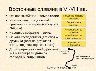 Восточные славяне в VI-VIII вв. Основа хозяйства – земледелие Низшее звено социа