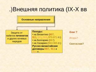 Внешняя политика (IX-X вв.) Основные направления Защита от набегов печенегов и д