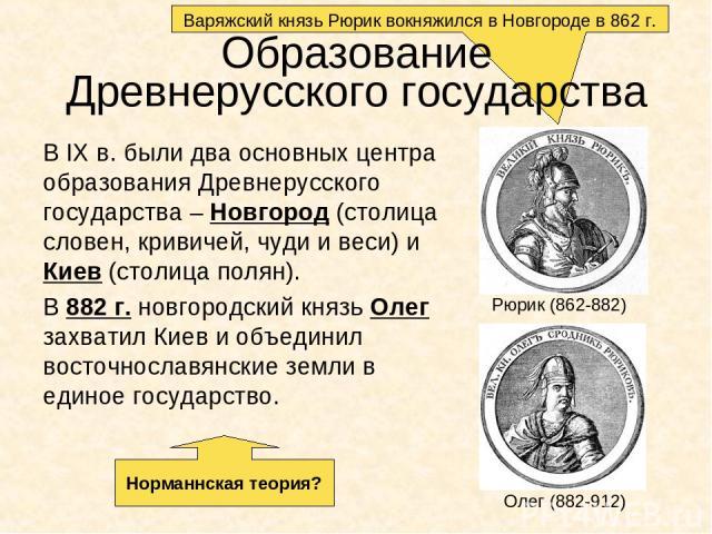 Варяжский князь Рюрик вокняжился в Новгороде в 862 г. Образование Древнерусского государства В IX в. были два основных центра образования Древнерусского государства – Новгород (столица словен, кривичей, чуди и веси) и Киев (столица полян). В 882 г. …