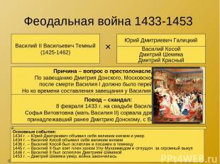 Феодальная война 1433-1453 Василий II Васильевич Темный (1425-1462) Юрий Дмитрие