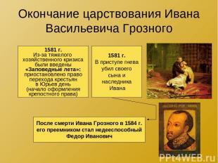 Окончание царствования Ивана Васильевича Грозного 1581 г. Из-за тяжелого хозяйст