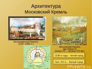 Архитектура Московский Кремль Белокаменный Кремль (1367-1368 гг.) Московский Кре