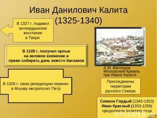 Иван Данилович Калита (1325-1340) А.М. Васнецов Московский Кремль при Иване Кали