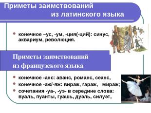 Приметы заимствований из латинского языка конечное –ус, -ум, -ция(-ций): синус,