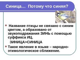 Синица… Потому что синяя? Название птицы не связано с синим цветом, а образовано