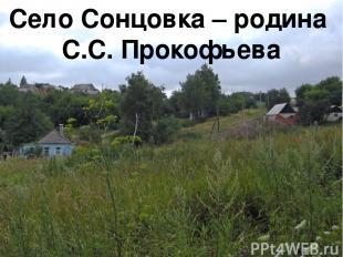 Село Сонцовка – родина С.С. Прокофьева