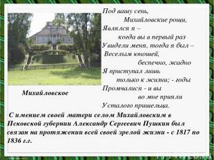С имением своей матери селом Михайловским в Псковской губернии Александр Сергеев
