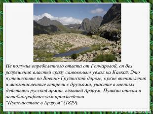 Не получив определенного ответа от Гончаровой, он без разрешения властей сразу с