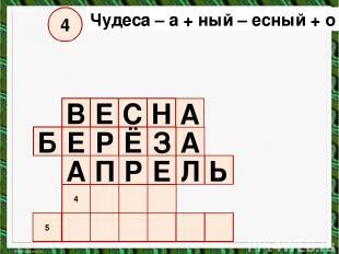 5 4 А П Р Е Л Ь Е Б Р Ё З А В Е С Н А Чудеса – а + ный – есный + о = ? 4