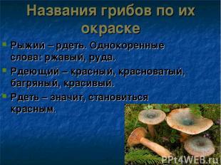 Названия грибов по их окраске Рыжий – рдеть. Однокоренные слова: ржавый, руда. Р