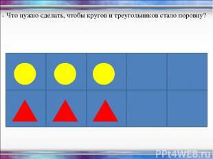 - Что нужно сделать, чтобы кругов и треугольников стало поровну?