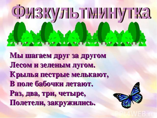 Мы шагаем друг за другом Лесом и зеленым лугом. Крылья пестрые мелькают, В поле бабочки летают. Раз, два, три, четыре, Полетели, закружились.