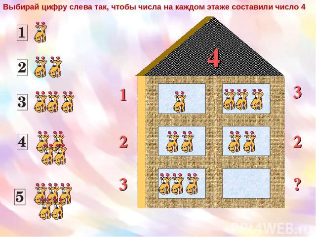 4 1 2 3 2 3 ? Выбирай цифру слева так, чтобы числа на каждом этаже составили число 4
