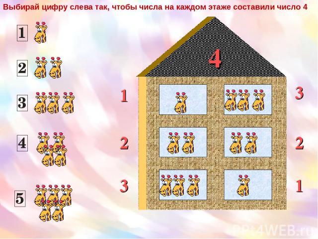 4 1 2 3 2 3 1 Выбирай цифру слева так, чтобы числа на каждом этаже составили число 4
