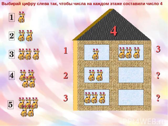 4 1 2 3 ? 3 ? Выбирай цифру слева так, чтобы числа на каждом этаже составили число 4