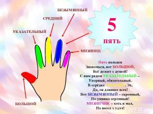Пять пальцев Знакомься, вот БОЛЬШОЙ. Всё делает с душой! С ним рядом УКАЗАТЕЛЬНЫ