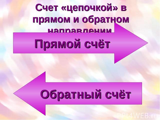 Счет «цепочкой» в прямом и обратном направлении Прямой счёт Обратный счёт